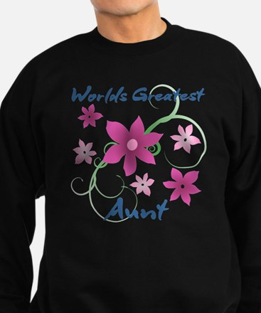 World's Greatest Aunt (Flowery) Sweatshirt (dark)
