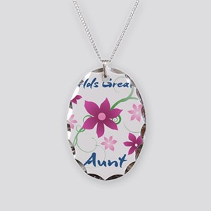 World's Greatest Aunt (Flowery Necklace Oval Charm