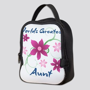 World's Greatest Aunt (Flowery) Neoprene Lunch Bag