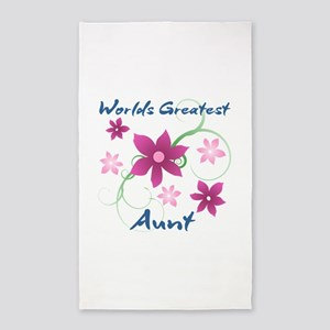 World's Greatest Aunt (Flowery) 3'x5' Area Rug