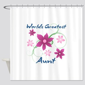 World's Greatest Aunt (Flowery) Shower Curtain