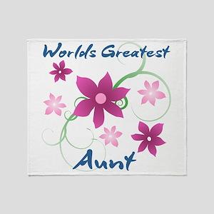 World's Greatest Aunt (Flowery) Throw Blanket