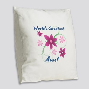 World's Greatest Aunt (Flowery Burlap Throw Pillow