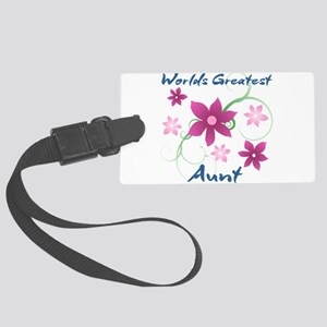 World's Greatest Aunt (Flowery) Large Luggage Tag