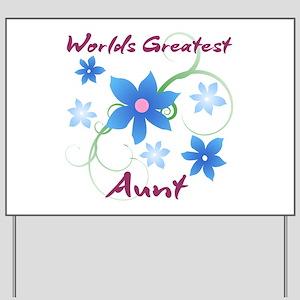 World's Greatest Aunt (Flowery) Yard Sign