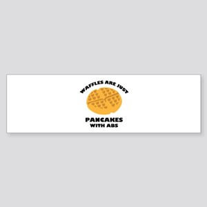 Waffles Are Just Pancakes With Abs Sticker (Bumper