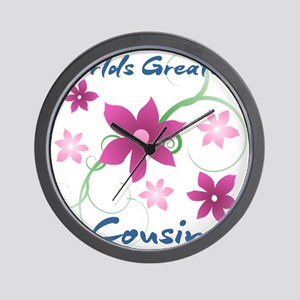 World's Greatest Cousin (Flowery) Wall Clock