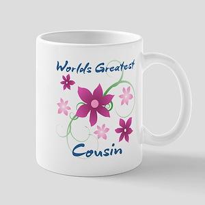 World's Greatest Cousin (Flowery) Mugs