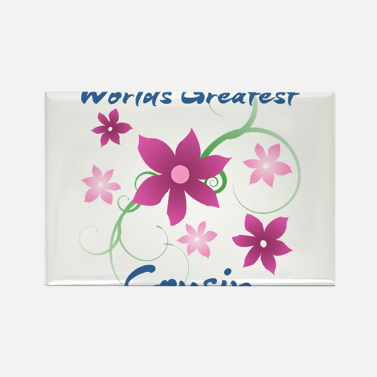 World's Greatest Cousin (Flowery) Magnets