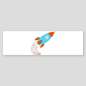 Orange and Blue Rocket Ship Bumper Sticker