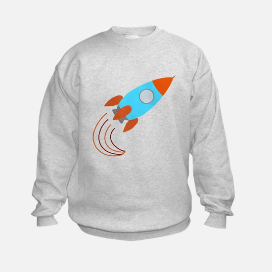 Orange and Blue Rocket Ship Sweatshirt