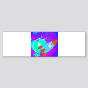 Rocket Ship on Abstract teal and purple Bumper Sti