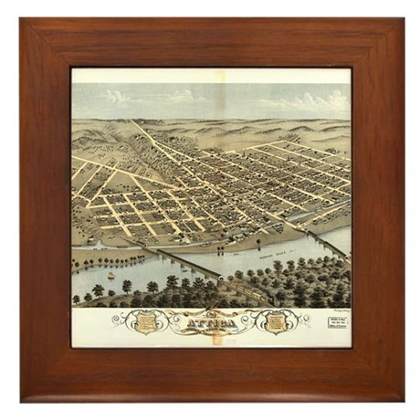 1869. Attica IN. Antique map. Framed Tile