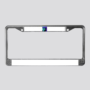 Black Abstract Peace License Plate Frame