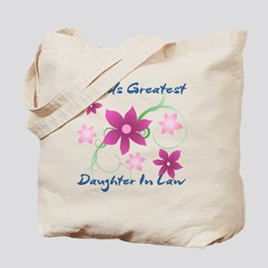 World's Greatest Daughter-In-Law (Flowery Tote Bag