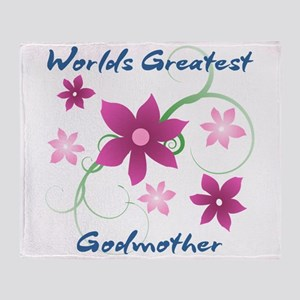World's Greatest Godmother (Flowery) Throw Blanket