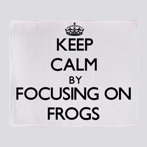 Keep Calm by focusing on Frogs Throw Blanket