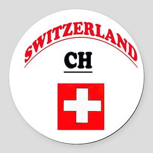 Confederation Helvetica Round Car Magnet