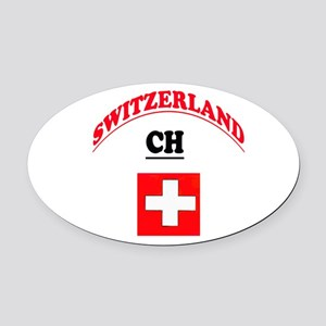 Confederation Helvetica Oval Car Magnet