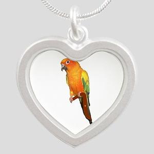 Sun Conure Silver Heart Necklace