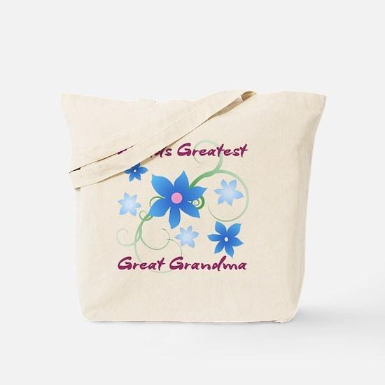 World's Greatest Great Grandma (Flowery) Tote Bag