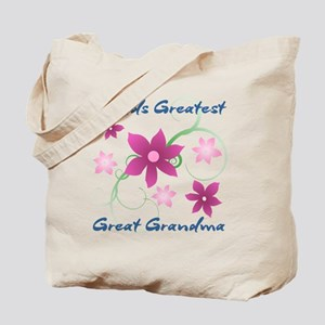 World's Greatest Great Grandma (Flowery) Tote Bag