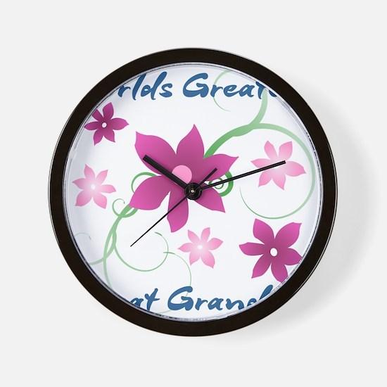 World's Greatest Great Grandma (Flowery Wall Clock