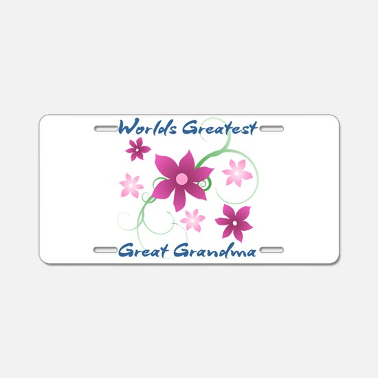 World's Greatest Great Gran Aluminum License Plate