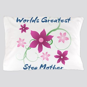 World's Greatest Step Mother (Flowery) Pillow Case