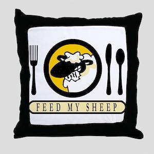 feedmysheepfront Throw Pillow