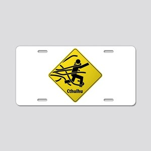 Caution: Cthulhu Crossing Aluminum License Plate