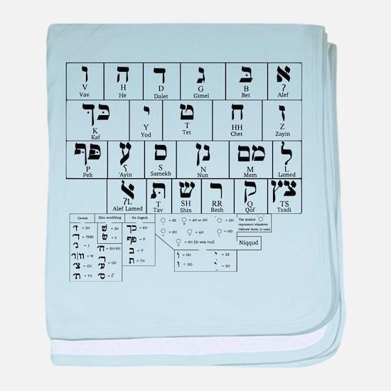 Hebrew Alphabet baby blanket