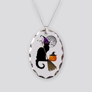 Le Chat Noir - Halloween Witch Necklace Oval Charm