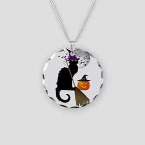 Le Chat Noir - Halloween Wit Necklace Circle Charm
