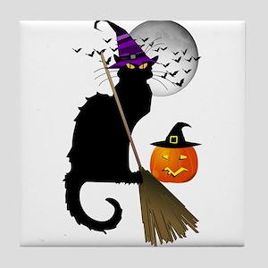 Le Chat Noir - Halloween Witch Tile Coaster