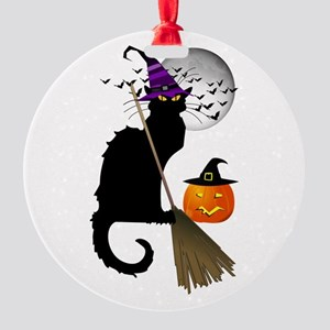 Le Chat Noir - Halloween Witch Round Ornament