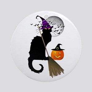 Le Chat Noir - Halloween Witch Ornament (Round)