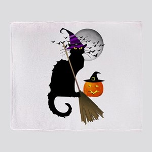 Le Chat Noir - Halloween Witch Throw Blanket