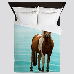 Chincoteague Paint Pony at Surf's Edge Queen Duvet