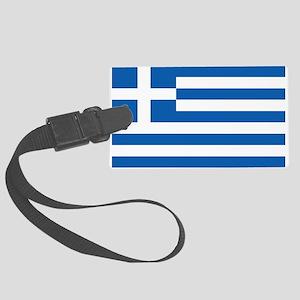 Greece Flag Large Luggage Tag