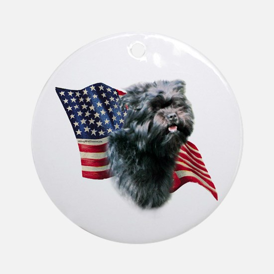 Affenpinscher Flag Ornament (Round)