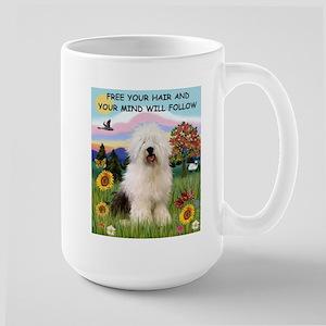 Free Your Hair & Old English Sheepdog  Large Mug