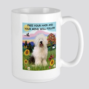 Free Your Hair & Old English Sheepdog  Large Mug