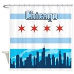 Chicago Flag City Skyline Shower Curtain