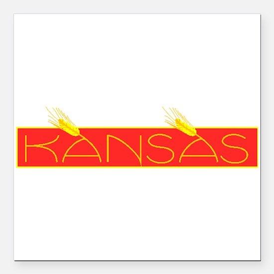"Kansas Square Car Magnet 3"" x 3"""