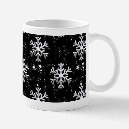 Snowflakes on Black Christmas Mugs