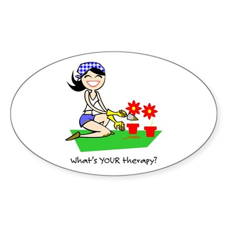Garden Therapy Oval Sticker