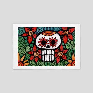 Day of the Dead Flower Skull 4' x 6' Rug