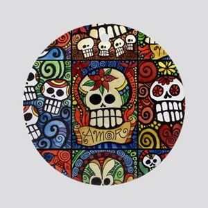 Day of the Dead Sugar Skulls Collec Round Ornament
