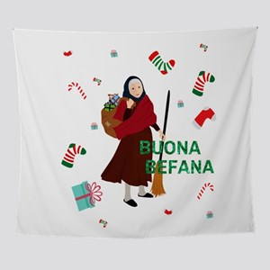 christmas Witch Befana Wall Tapestry